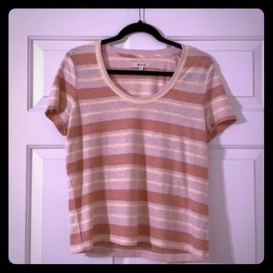 Madewell Striped Scoop Tee— Yellow